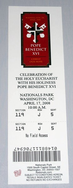Ticket for the Papal Mass