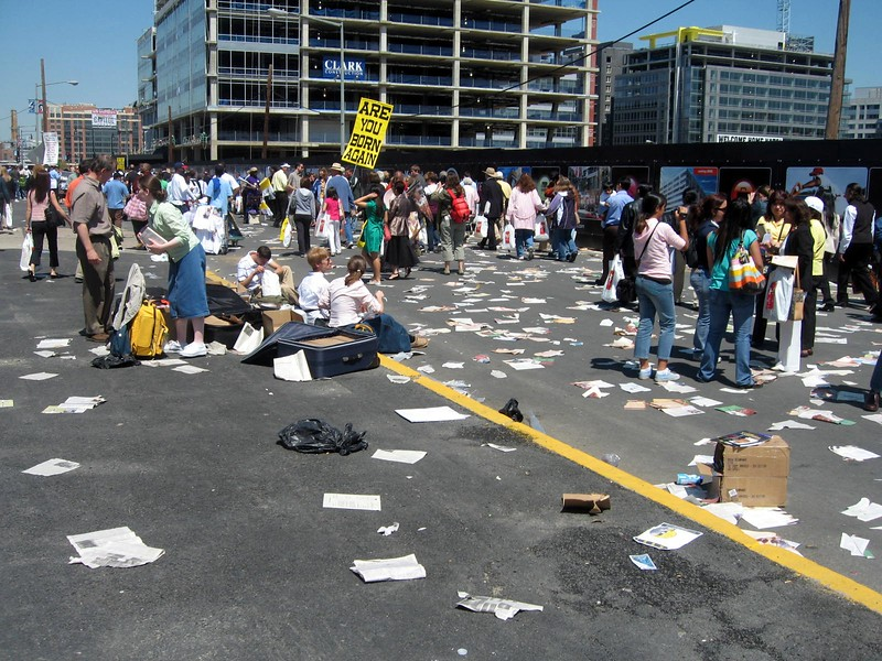 Demonstrators outside Nationals Park after the Mass