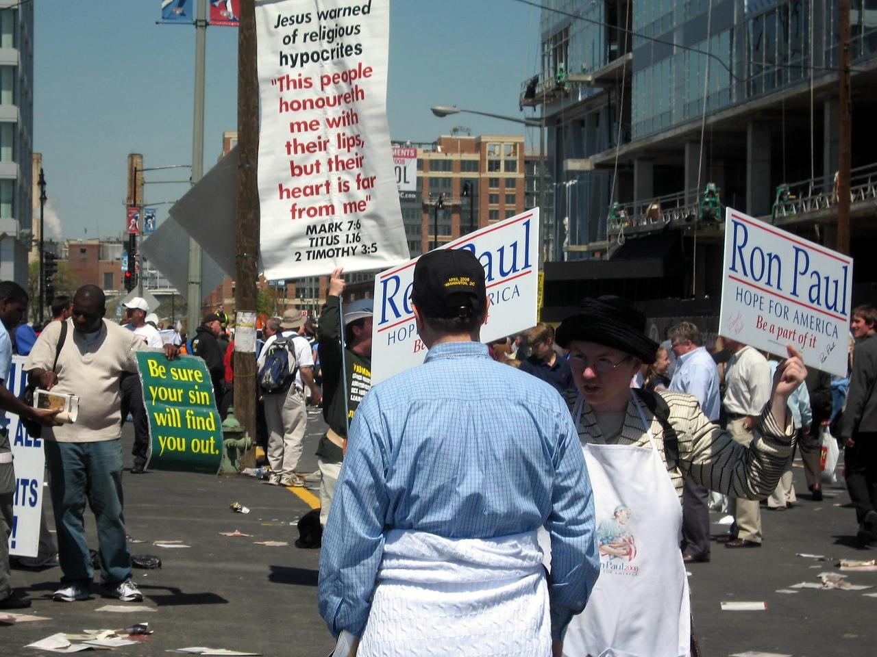 Demonstrators outside Nationals Park after the Mass