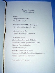 Program for the State Arrival Ceremony for Pope Benedict XVI