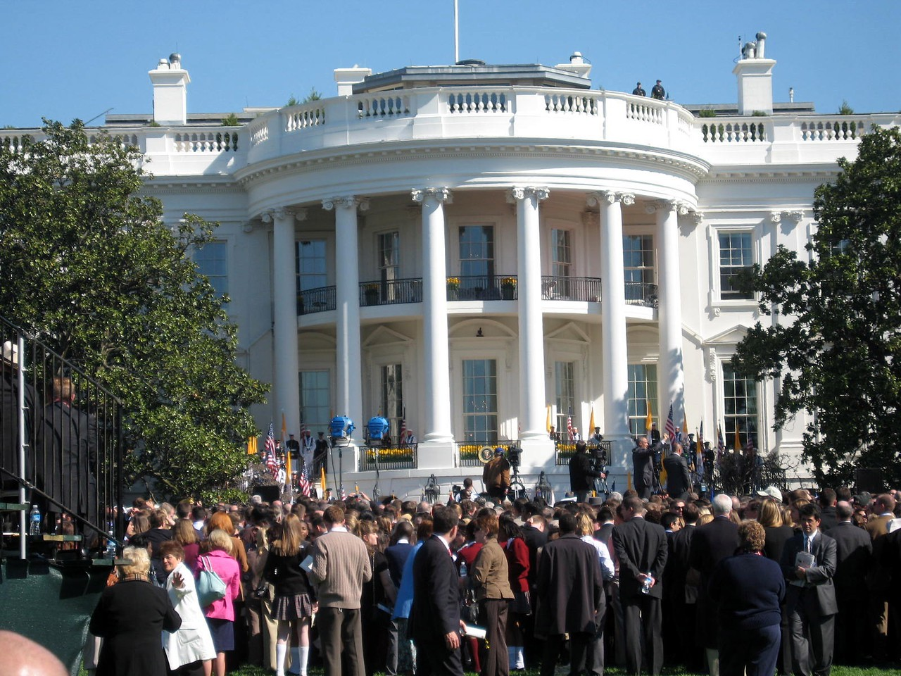 A crowd of over 13,000 gathers on the South Lawn of the White House for the State Arrival Ceremony for Pope Benedict XVI