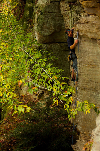 "We headed out to the ""Bruise Brothers"" wall and hit up a few climbs. Here's Richard making a clip on a 5.9."
