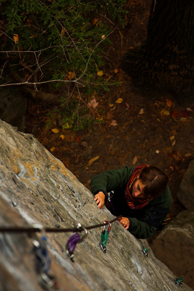 Tracy creeps higher on a delicately thin 5.10b.