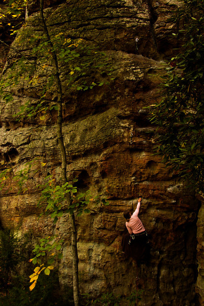 Tracy stands out in the shadowy darkness covering this 5.10.