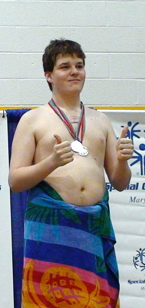 TMD Sport Swimming MD Special Olympics Summer Games Towson SOMO 50 free ceremony Alexander gold DSC01646