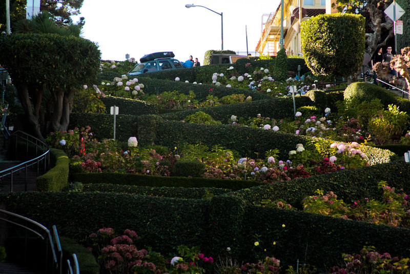 Lombard Street, a 27 percent grade built with a couple nice switchbacks to allow travel.