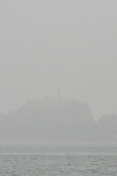 The Alcatraz lighthouse peers through the fog, showing us the way across the water.