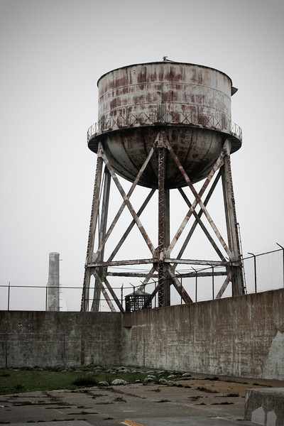 This large water tower looms over the yard, visible from practically anywhere on the Rock.