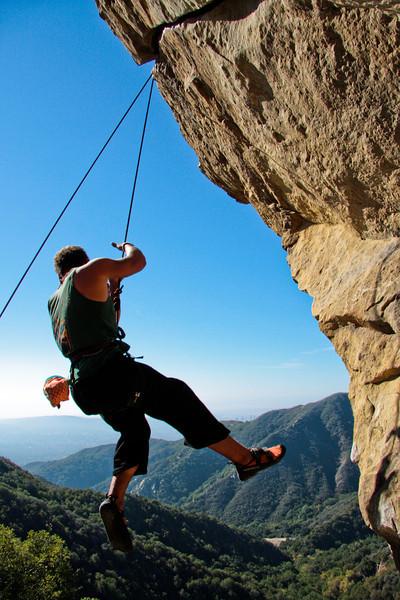 Gibraltar Rock sends Kelsey spinning off <i>The Nose 5.11b</i>.
