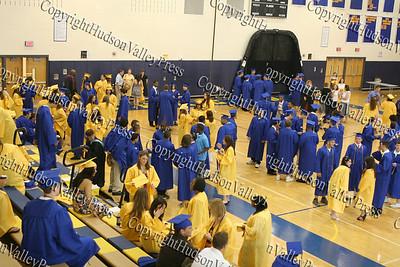 Beacon High School senior gather in the gym prior to graduation.