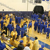 Beacon High School senior gather in the gym prior to graduation.