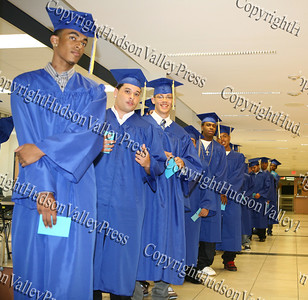 Jovan Alexander Bernard leads the lineup of NFA graduates for the Newburgh Free Academy summer graduation on August 21, 2008.