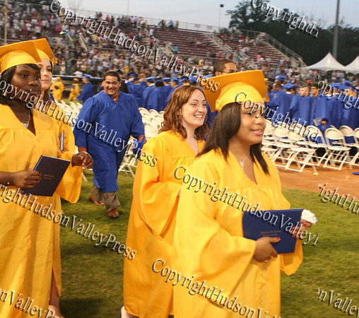 NFA graduates march off the field following commencement exercises at Dutchess Stadium in Fishkill on June 27, 2008.