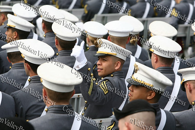 West Point Cadet Alberto Emmanuel Marquez gives a thumbs up during the West Point Graduation.