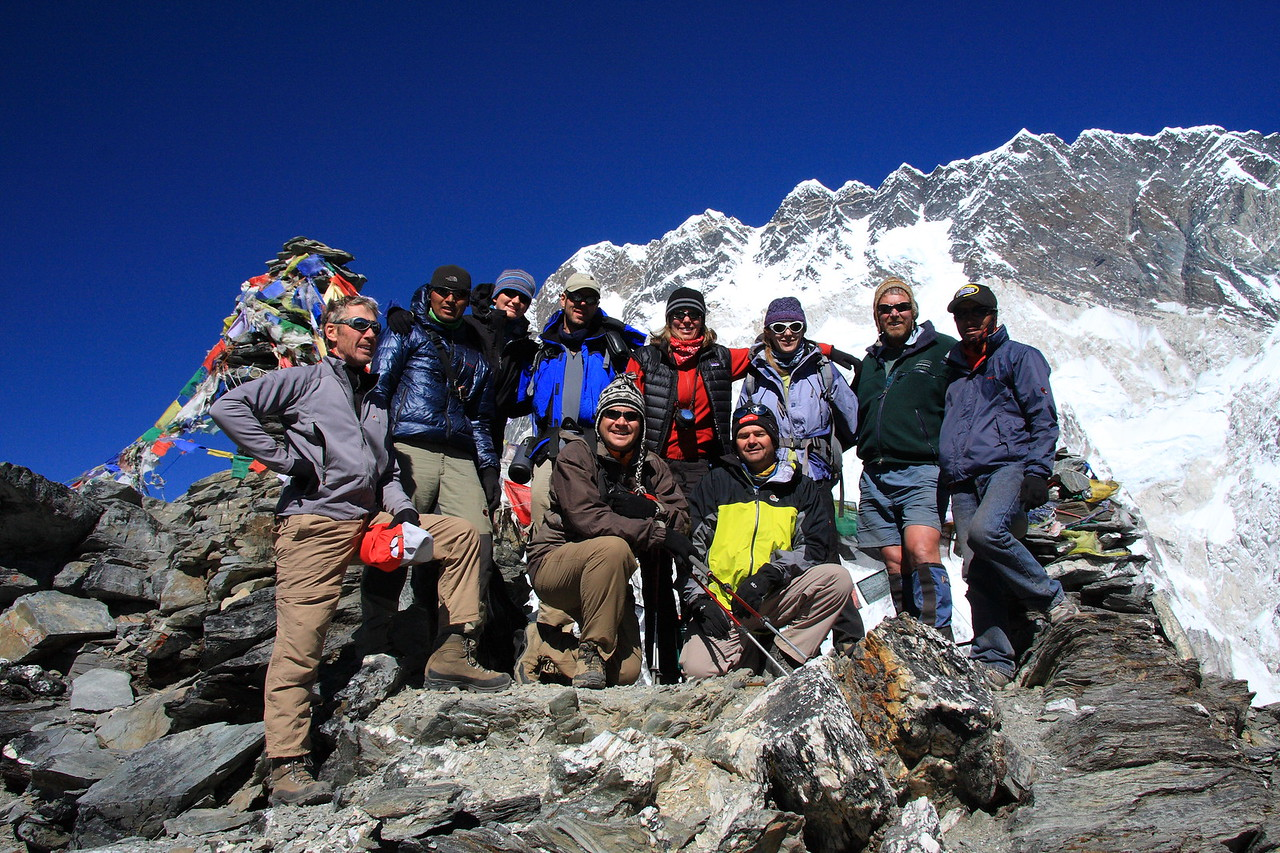 Group picture on summit of Chukhung Ri, a training day prior to Island Peak.  This peak is about 5500m