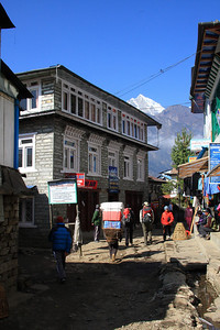 Beginning the trail in village of Lukla