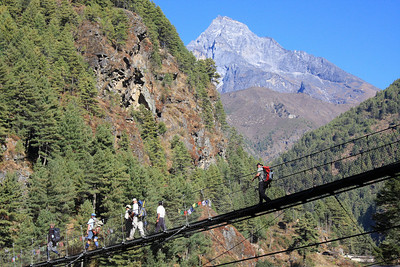 Suspension bridge on route to Namche Bazar