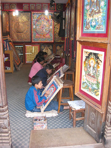 Bhaktapur - UNESCO World Heritage Site (Kathmandu, Nepal) Children learning to paint Thangkas.