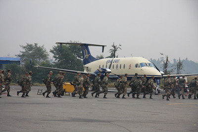 Nepal military running training exercises at the airport