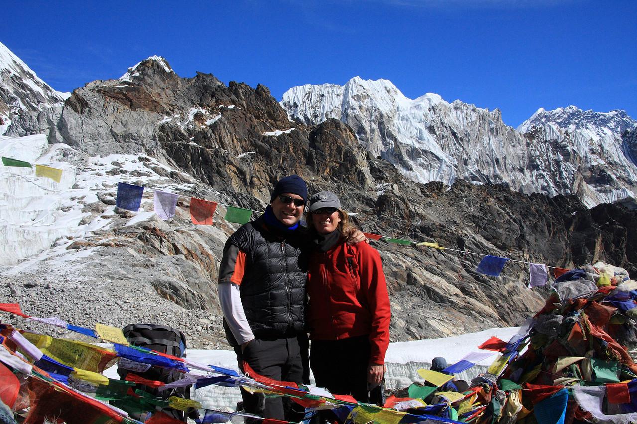 Susan and Sean at the top of Cho La pass. (5690m)
