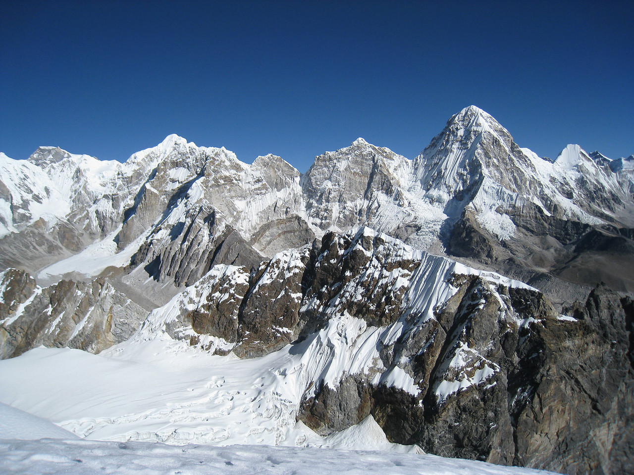 View from summit of Lobuche East 6119m, Pumori is visible to the right