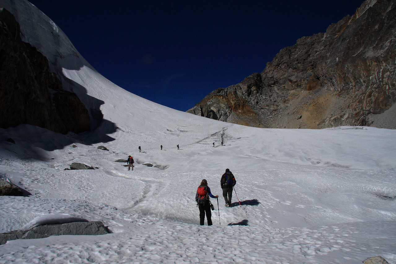 The group climbs near the top of Cho La pass. (5690m)