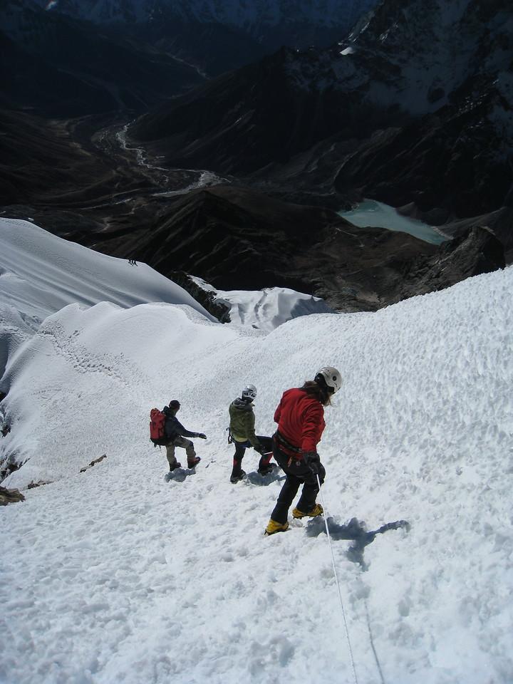 Descent off Lobuche