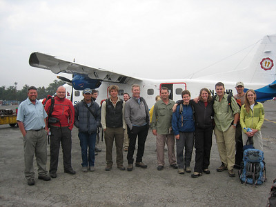 Adventure Consultants - 3 Peaks of Nepal Team picture prior to flight to Lukla Pictured from left to right - Pat Sole, Kim Jensen, Passang Tenzing Sherpa, Mark Morrison (Adventure Consultants guide), Tony Peters, Glenn Barker, Jessica Ackerman, Susan Sayers, Sean Ardussi, Kenric Kesler, Nicola Astley