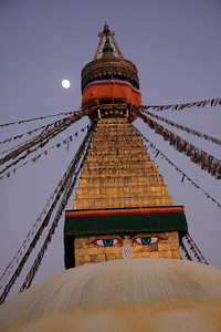 Bodinath, Kathmandu - Nepal's Largest Buddhist Stupa with full moon in background