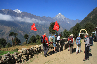 Maoist flags flying in Lukla