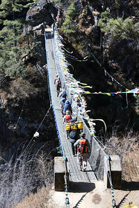 Crossing the suspension bridge on the way to Namche Bazar
