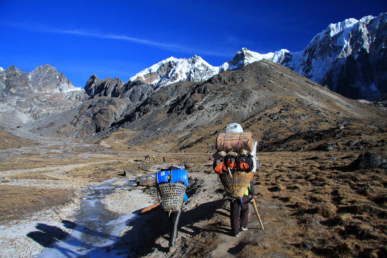 Porters carry the loads