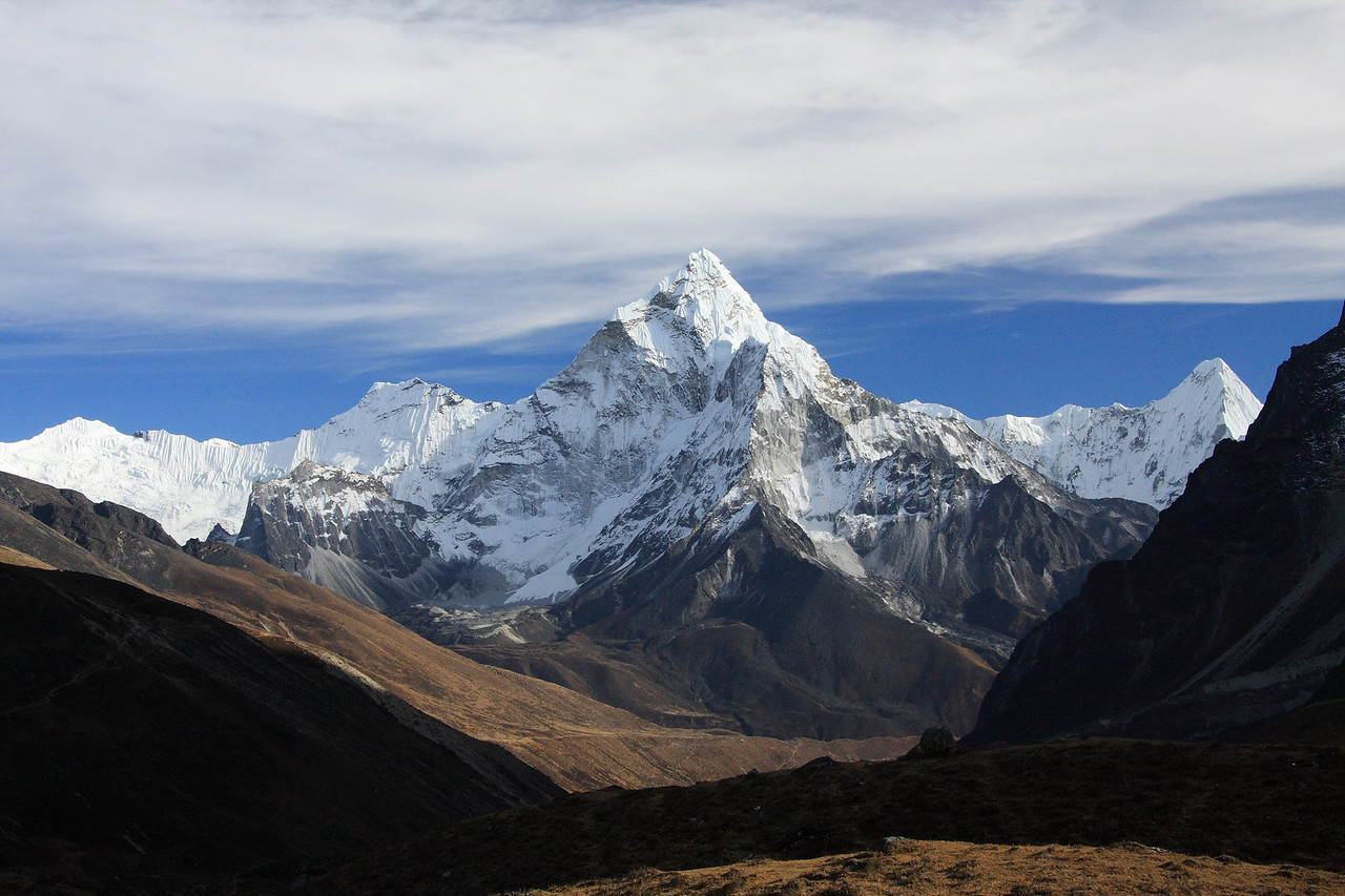 Distant view of Ama Dablam from Dzonghla