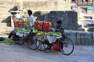 Street fruit vendors Bhaktapur - UNESCO World Heritage Site (Kathmandu, Nepal)