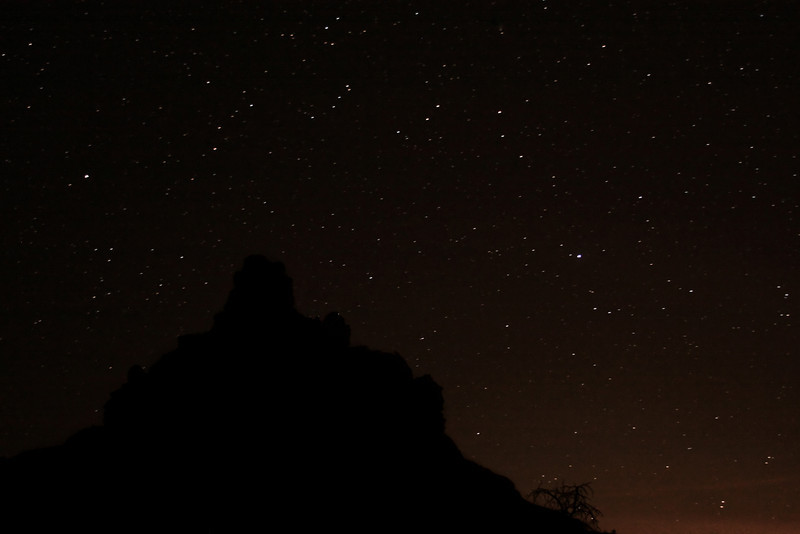 Sedona's Bell Rock darkens the sky during a bit of night shooting while looking for poisonous critters.
