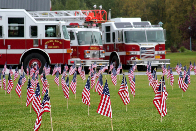 One flag rises from the CMSFD lawn to remember every firefighter killed in the terrorist attacks of September 11th, 2001.