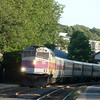 Outbound train at Melrose Cedar Park station.