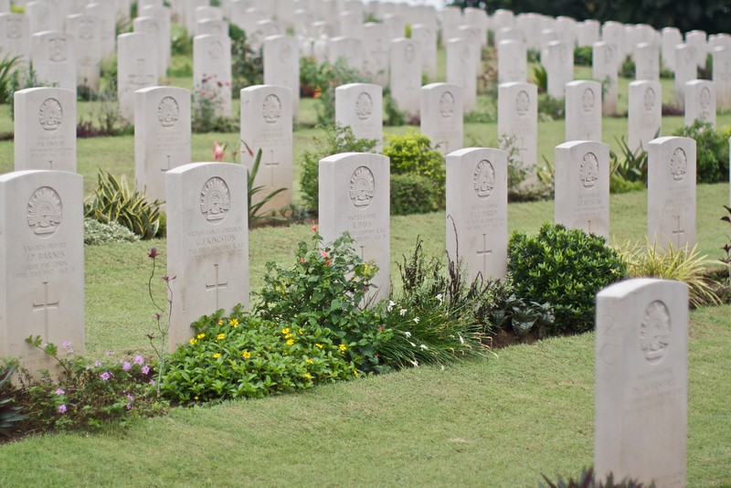 Rows of Australian graves in the Kranji War Memorial, on the north side of Singapore. These soldiers served protecting the Malay peninsula during the second world war. The memorial is looked after by the Commonwealth War Graves commission.