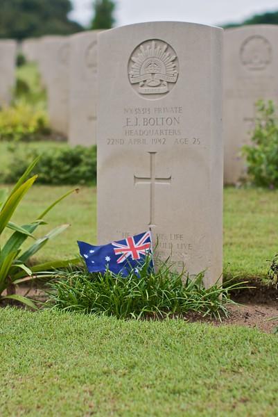 An Australian Private's grave in the Kranji War Memorial in Singapore.