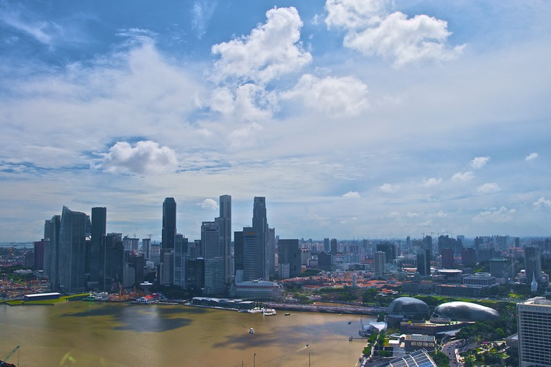View over downtown Singapore from the Singapore Flyer.