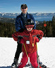 Richard and Benjamin at Alpine Meadows, with Lake Tahoe in the background.