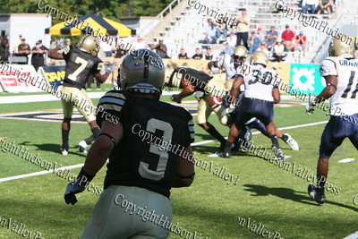 Army Running Back Stanton Bachus fumbles in the final quarter just shy of a touchdown during West Point's game against Akron on Saturday, September 20, 2008 at Mitchie Stadium.