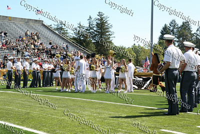 Army cheerleaders rally the fans as West Point takes the field against Akron on Saturday, September 20, 2008 at Mitchie Stadium.