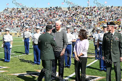 West Point Superintendent Lt General Franklin Hagenbeck congradulates Bobby Knight as Alexis Albano looks on during the half time ceremony at Mitchie Stadium at West Point on Saturday, September 20, 2008.