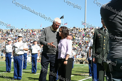 Former Army Men's Basketball Head Coach Bobby Knight and Army Soccer/Track & Field Star Alexis Albano congradulate each other during half time for being inducted into Army Sports Hall of Fame Class of 2008.