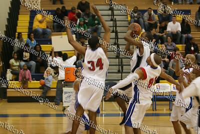 Hudson Valley Hawks Willie Coleman puts up two points during their NPBL match up against the Avengers.