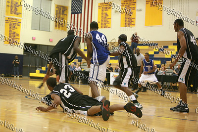 Hudson Valley Hawks and Delaware Destroyer players battle over a loose ball during their May 3, 2008 game.