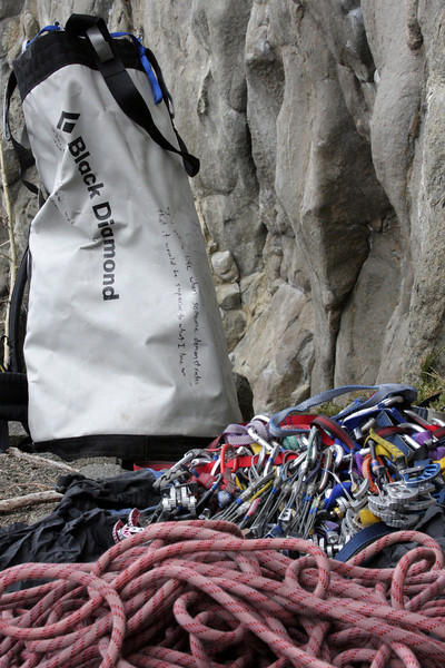 A pile of gear rests idle, ready to be put to good use on the rocks above Weiner Lake.