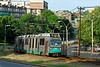 A pair of Breda cars on the Green line along Commonwealth Ave.