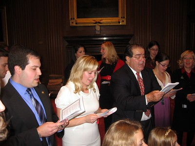 Craig, Katharine, and Associate Justice Antonin Scalia sing Away in a Manger